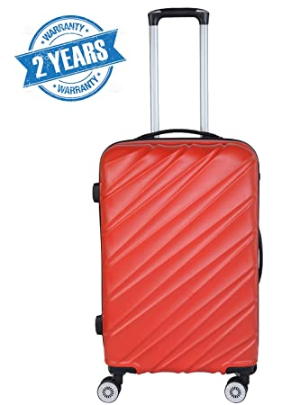 3G Combat 8016 Series Unisex ABS 55 cm/20 Inch 4 Wheels Red Hard Sided Luggage Trolley Cabin Size Suitcase