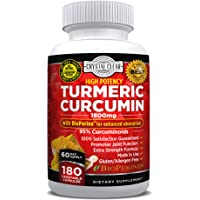 Turmeric Curcumin with Bioperine - Highest Potency, Best for Joint Pain Relief, Heart Health and Anti-Aging, Natural Antioxidant, Gluten Free, Non-GMO, Black Pepper Extract - 180 CT