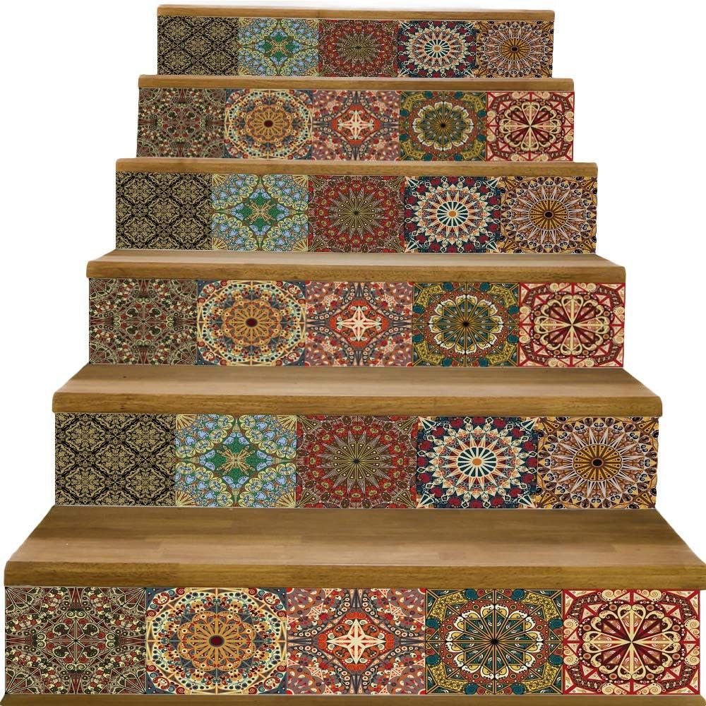 yazi Peel and Stick Tile Backsplash Stair Decals Brick Pattern Stair Riser Refurbished Stair Treads Decals 7''W x 39''L Arabic Style Wallpaper (Set of 6) (Arabic Style Tile)