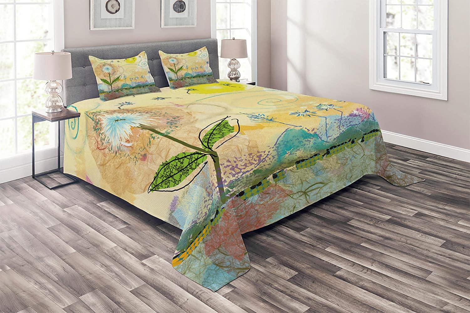Lunarable Flower Coverlet Set Twin Size, Abstract Painting with Childish Spirals and Sun Baby Nursery Themed Work of Art, 2 Piece Decorative Quilted Bedspread Set with 1 Pillow Sham, Multicolor bedcen_21119_twin
