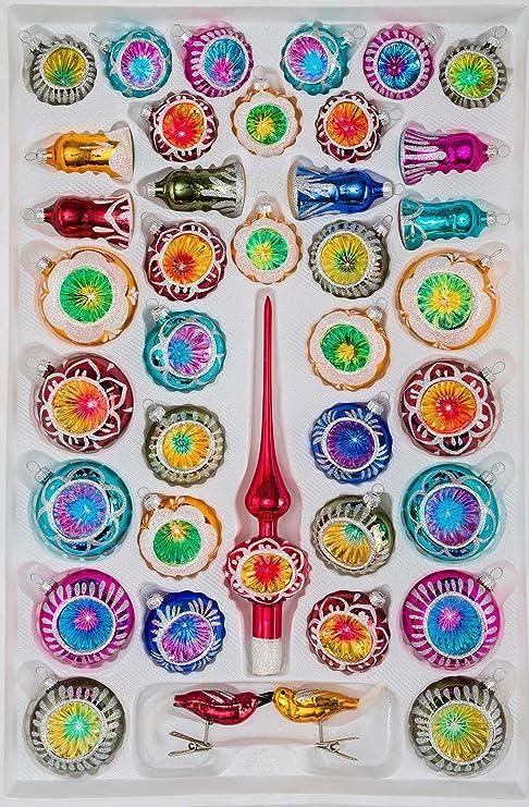 Christbaumkugeln Amazon.39 Tlg Glas Weihnachtskugeln Set In Hochglanz Vintage Style Christbaumkugeln Weihnachtsschmuck Christbaumschmuck Reflektorkugeln Reflexkugeln Re