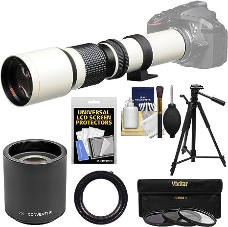 Vivitar 500 mm f/8,0 Teleobjetivo (montura T) (blanco) con 2 x ...