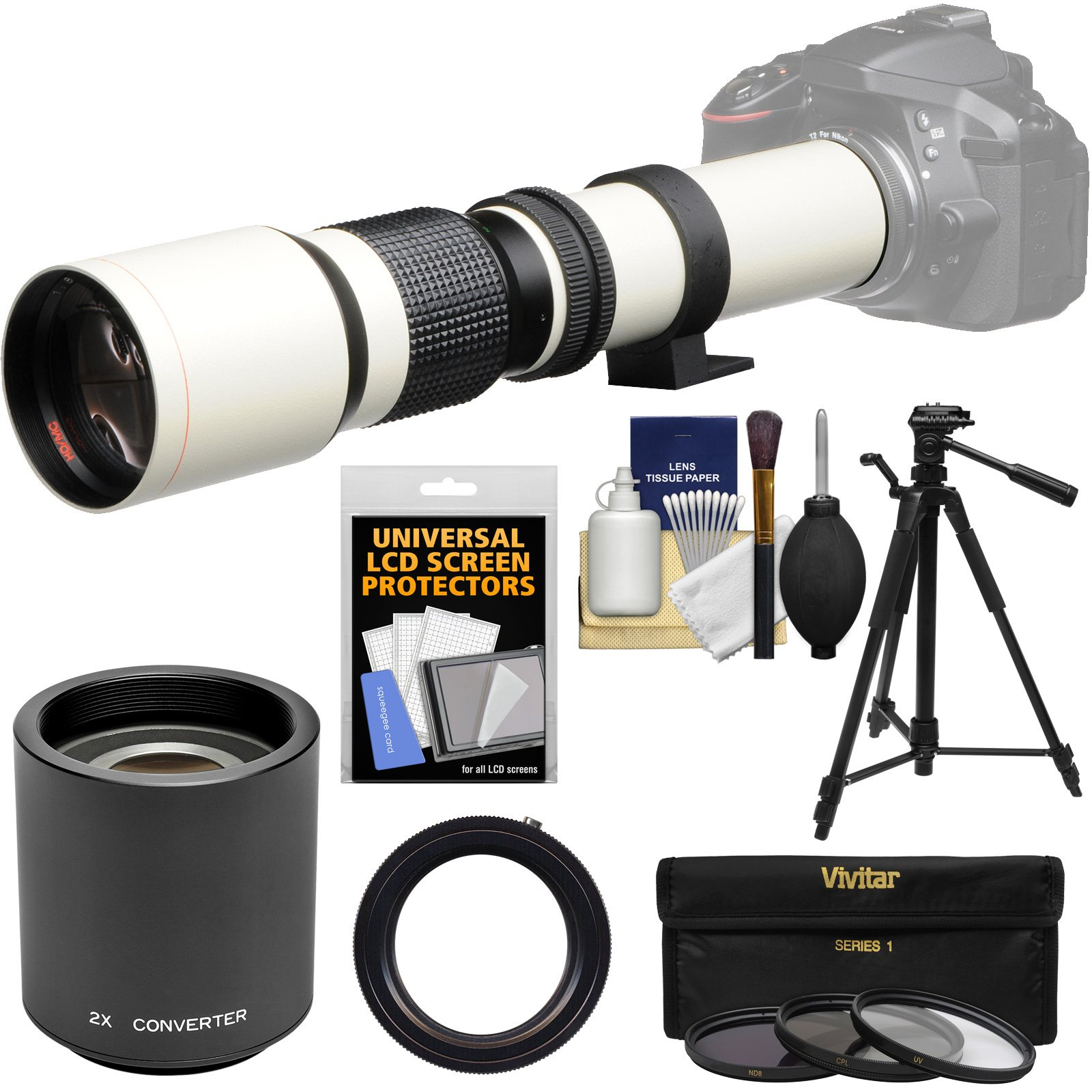 Vivitar 500mm f/8.0 Telephoto Lens (T Mount) (White) with 2X Teleconverter (=1000mm) + Tripod + 3 Filters Kit for Nikon D3200, D3300, D5300, D5500, D7100, D7200, D610, D750, D810 Camera
