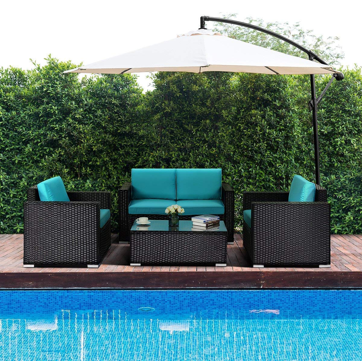 Tangkula 4PC Patio Rattan Sofa Outdoor Garden Modern PE Wicker Rattan Sofa Conversation Furniture Set with Cushion Blue