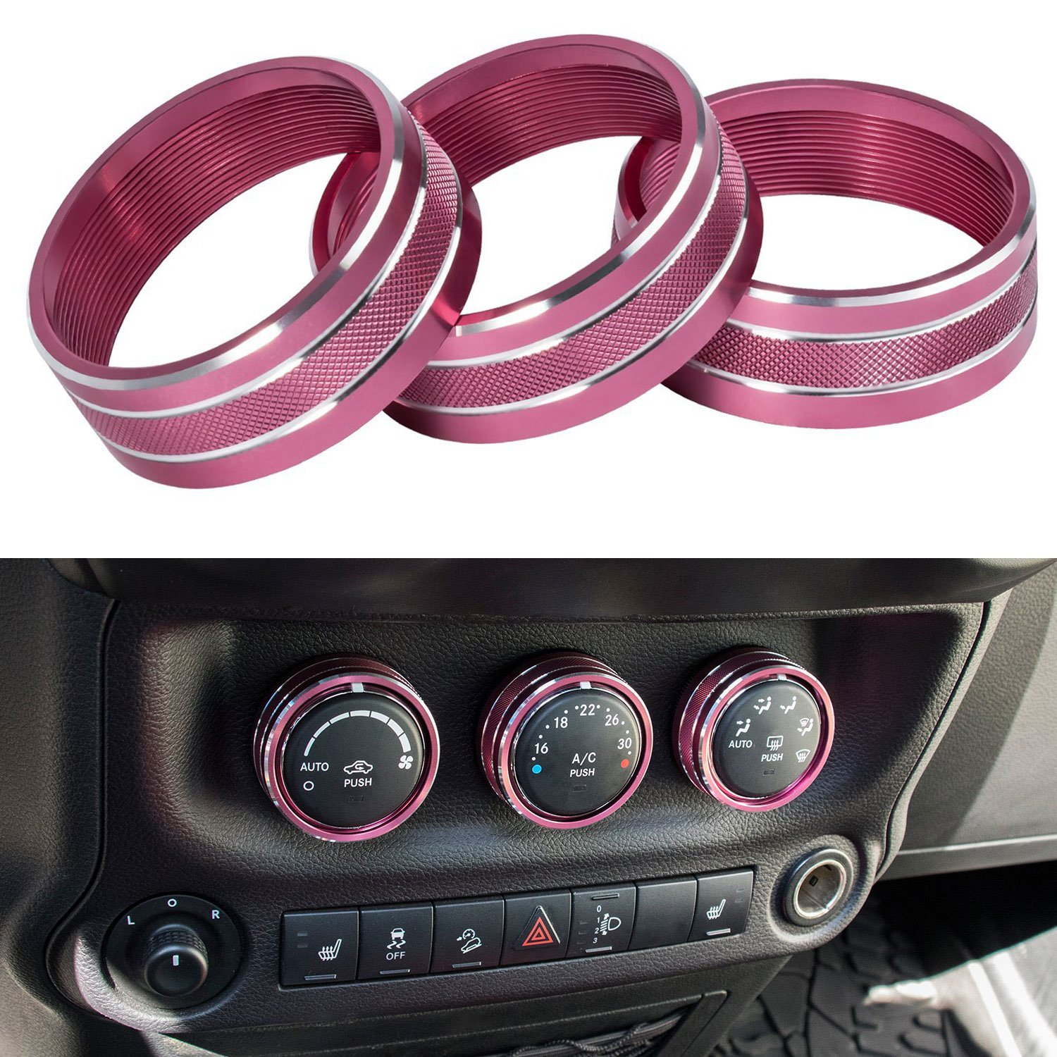 E-cowlboy Interior Audio Air Conditioning Button Cover Decoration Twist Switch Ring Trim for Jeep Wrangler JK JKU Compass Patriot 2011 2012 2013 2014 2015 2016 3PC/SET (Pink) ¡ ­