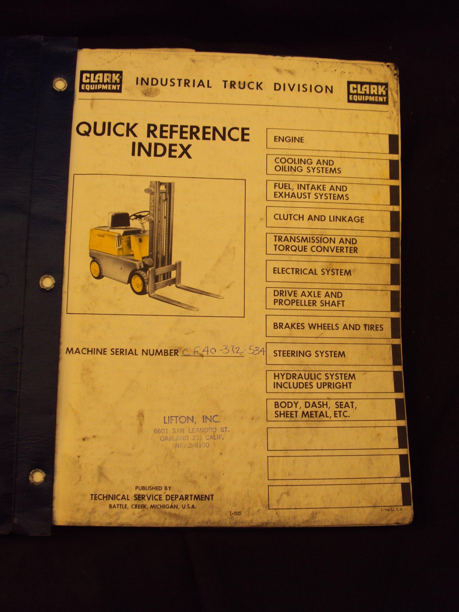 Clark Equipment Forklift CF 30, 40, 50, Operation Owner & Parts Manual:  Clark Equipment: Amazon.com: Books