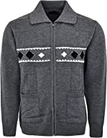 Mens Knitted Cardigan Classic Style Zipper cardigan With Collar Deisgn