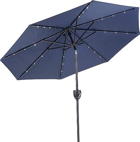 Sun-Ray 811042 Solar Patio Umbrella, Navy