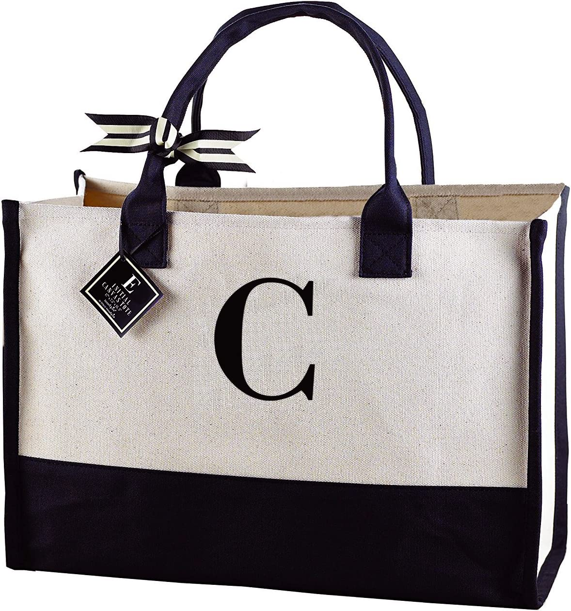 Mud Pie Initial Canvas Tote Bags