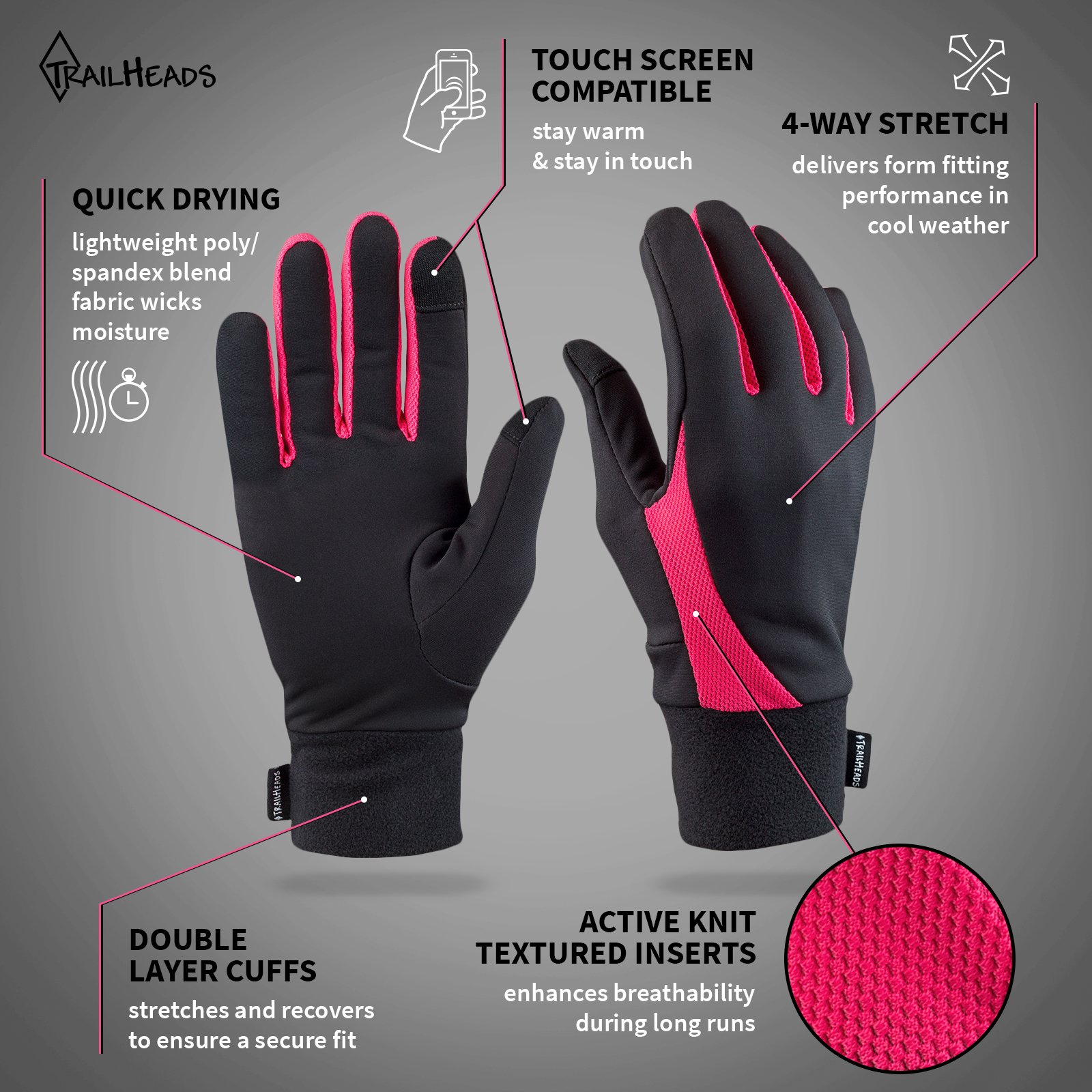 TrailHeads Running Gloves   Lightweight Gloves with Touchscreen Fingers -Black/Bright Coral (Large) by TrailHeads (Image #2)