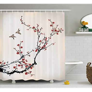 Ambesonne House Decor Shower Curtain, Cherry Branches Flowers Buds and Birds Asian Style Artwork with Painting Effect, Fabric Bathroom Set with Hooks, 69W X 70L Inches Long, Black and Burgundy