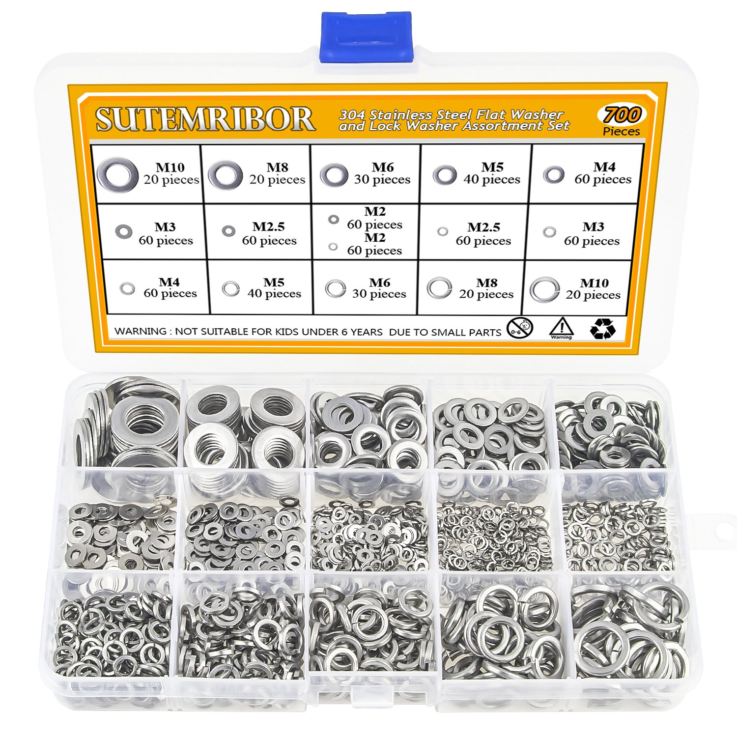 Sutemribor 304 Stainless Steel Flat Washer and Lock Washer Assortment Set 700 pcs, 8 Sizes - M2 M2.5 M3 M4 M5 M6 M8 M10