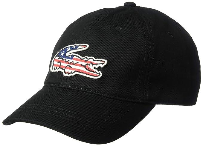 bab883c8 Lacoste Men's Big Croc USA Gabardine Cap, Black, One Size: Amazon.ca ...