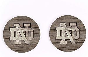 Notre Dame Fighting Irish NCAA Team Logo on Woodgrain 4 x 4 Absorbent Ceramic Car Coasters Pack of 2