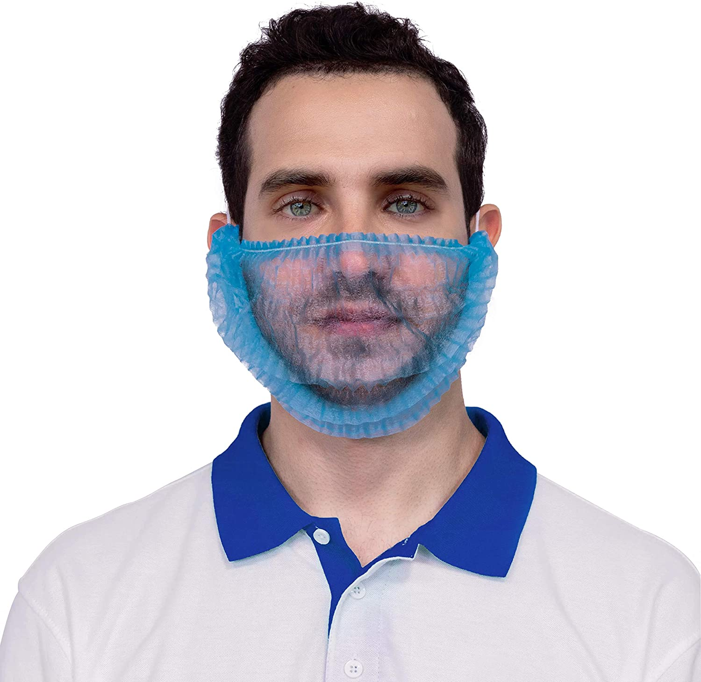 AMZ Pack of 100 Blue Polypropylene Beard Covers 18