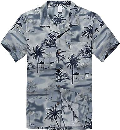 Hombres Aloha camisa hawaiana en Puesta de sol y Paisaje Gris: Amazon.es: Ropa y accesorios