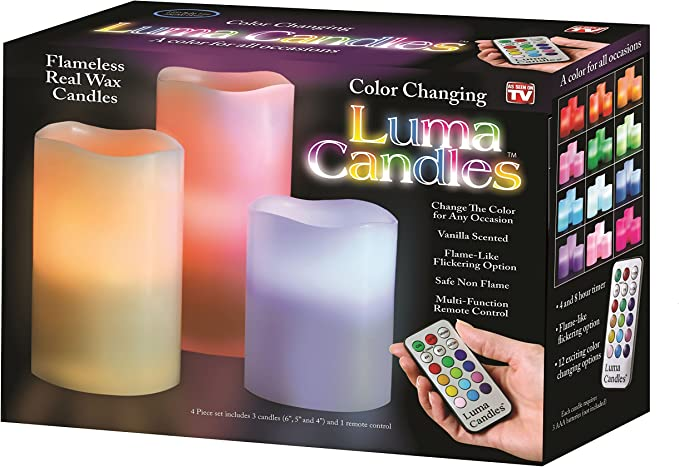 Luma Flameless LED Candles Color Changing Real Wax w// Remote Control LIGHT 3 Set