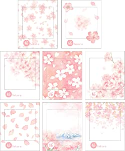 RIANCY Romantic Sakura Sticky Notes, Self-Sticky Note Pads, Mini Memo Pad, Things to Do List Notepad, Schedule Marker, 30 Sheets per Pad (Sakura 2,Pack of 8)