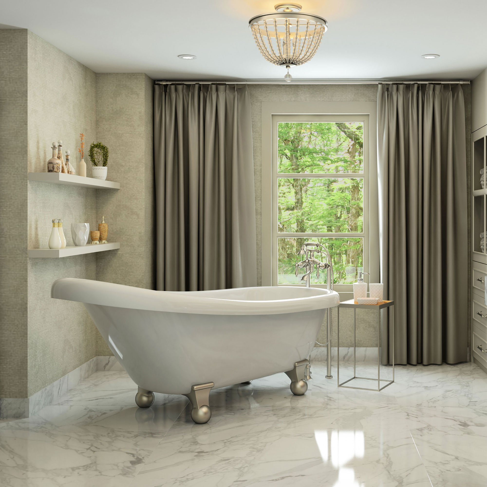 Luxury 60 inch Modern Clawfoot Tub in White with Stand-Alone Freestanding Tub Design, Includes Modern Brushed Nickel Cannonball Feet and Drain, From The Brookdale Collection