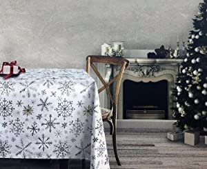 Dash Away Home Fabric Cotton Christmas Holiday Tablecloth Snowflakes in Shades of Gray Silver Beige Tan on White 60 Inches x 144 Inches