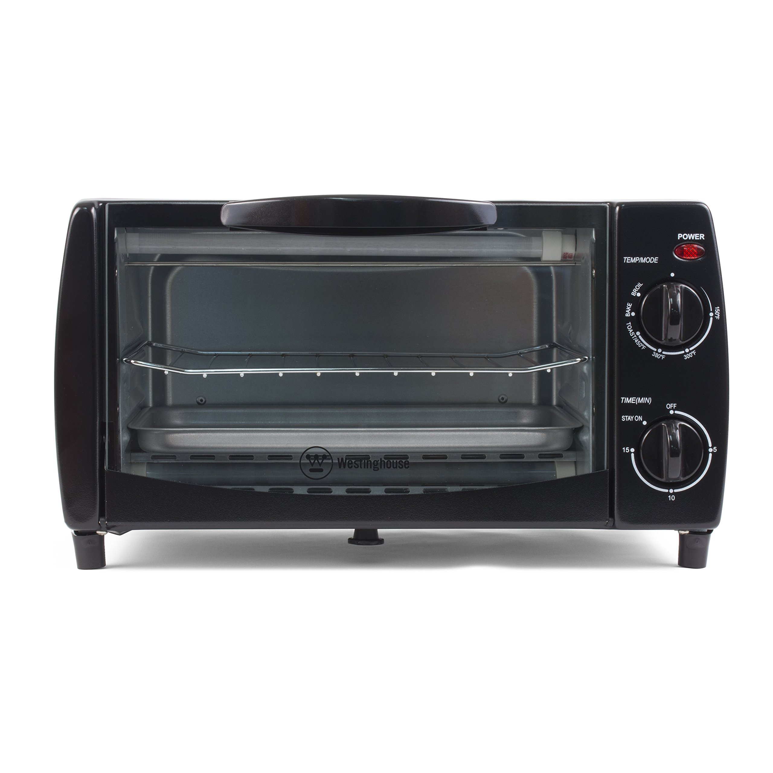 Westinghouse WTO1010B 4-Slice Toaster Oven, 10-Liter, 14.57''X11.42''X7.95'', Black by Westinghouse