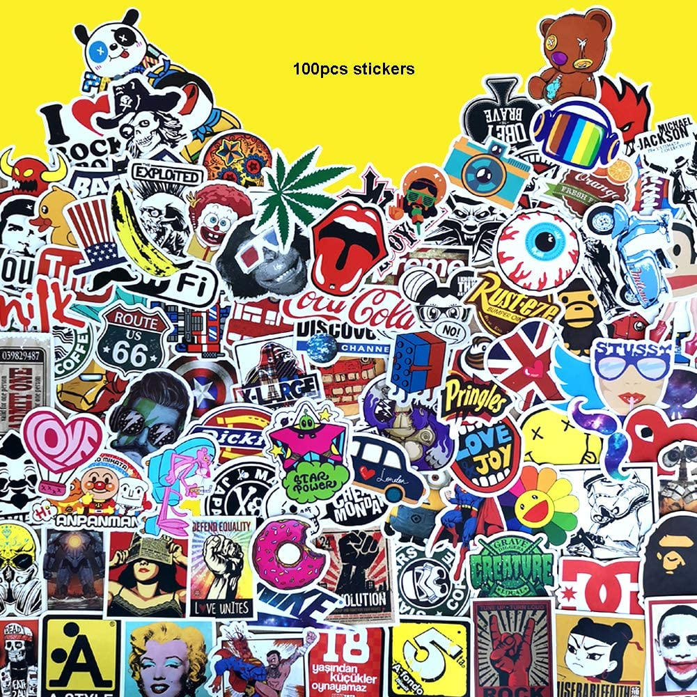 100 Pieces Waterproof Vinyl Stickers for Personalize Laptop,Piano,Car, Helmet, Skateboard, Luggage Graffiti Decals ,No-Duplicate Pack (A - Section)