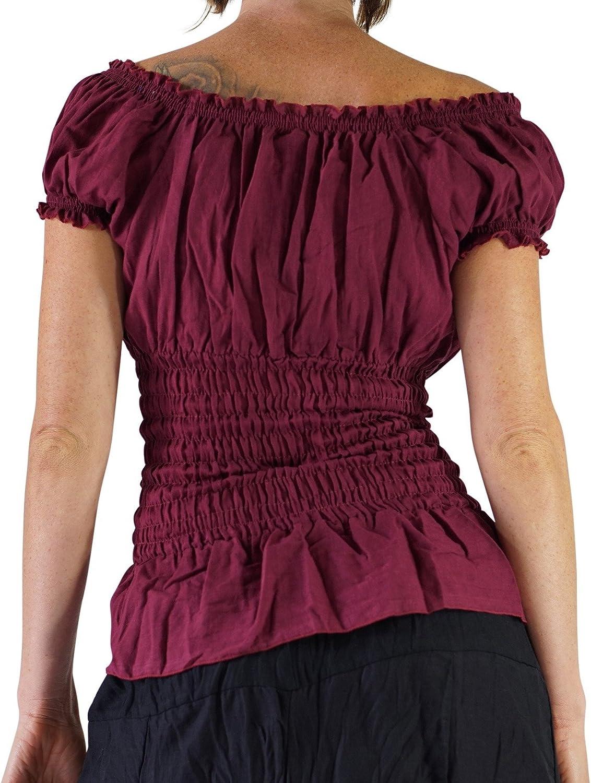 Gypsy Chemise zootzu SS Peasant Blouse Renaissance Clothing Boho Shirt M, Maroon
