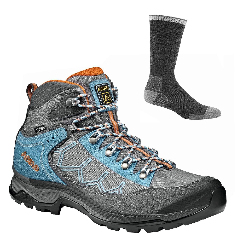 Asolo Women Falcon GV Hiking Boots B07CH1FCMW 7.5 B(M) US|Grey/Stone W/ Socks