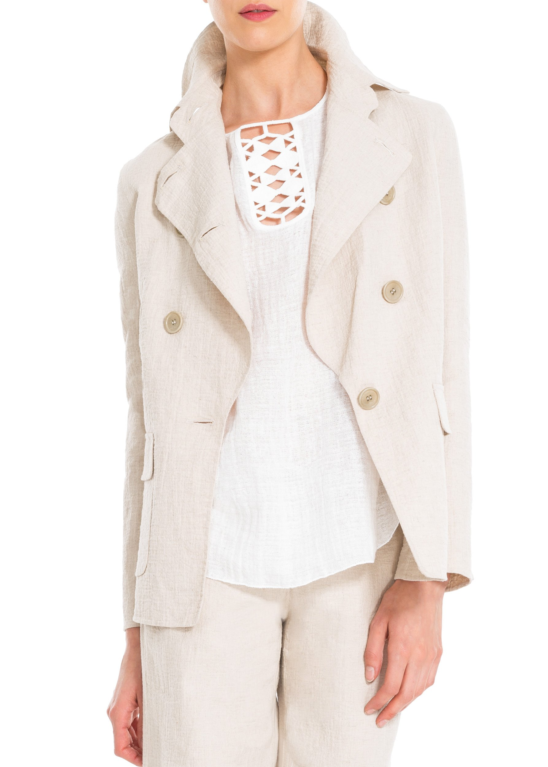 Cotton And Linen Doubleweave Jacket - 6203E64-KHAKI-S by MAXSTUDIO