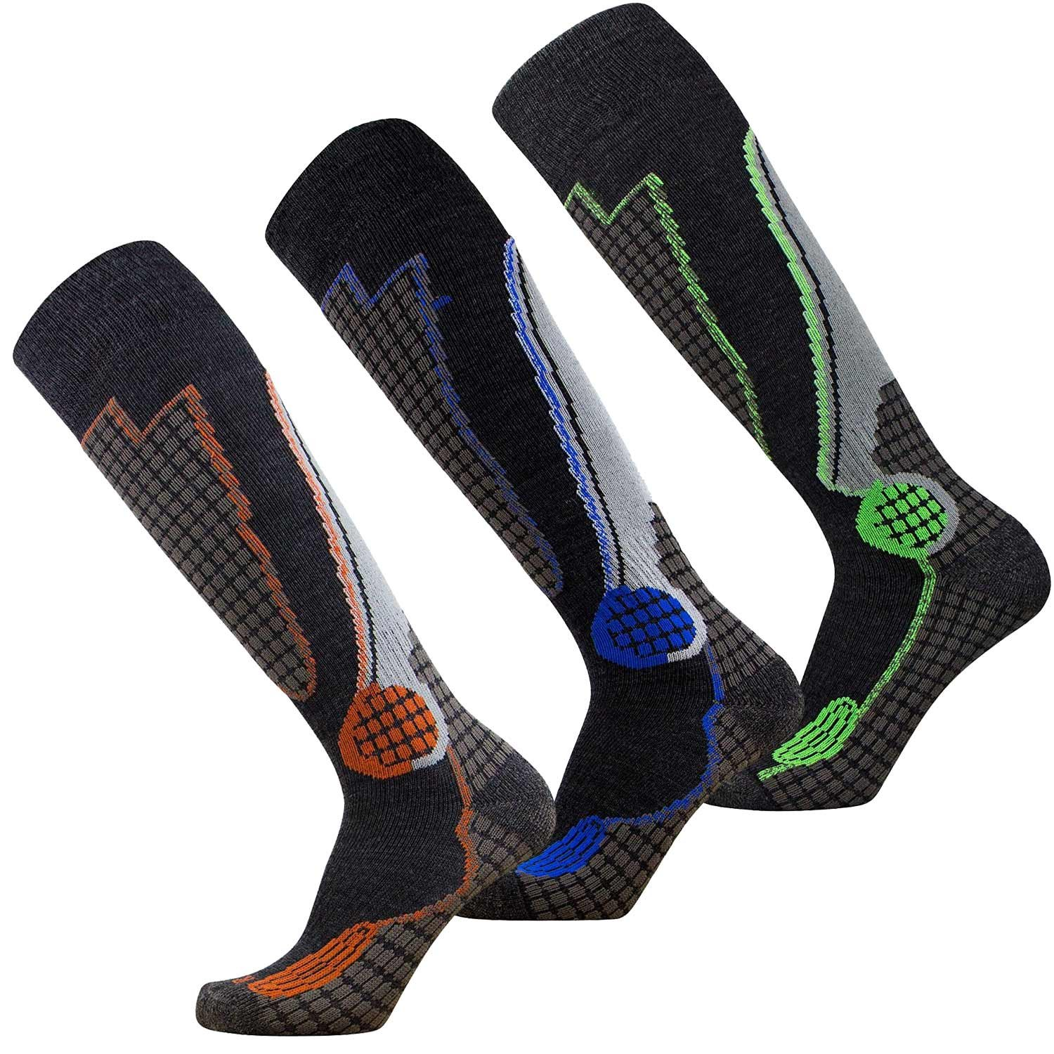Pure Athlete High Performance Wool Ski Socks – Outdoor Wool Skiing Socks, Snowboard Socks (Black-Grey-Blue/Neon-Green/Orange - 3 Pack, Large)