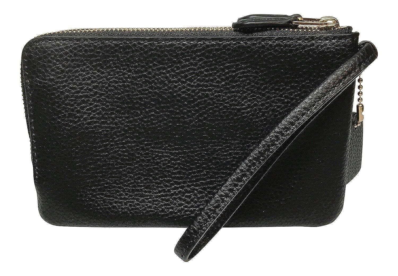 82f3b7e4240c3 Coach Pebbled Leather Double Corner Zip Wristlet Black F87590   Amazon.co.uk  Shoes   Bags