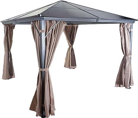 Mendler Cenador con dosel HWC-C74, techo rígido con cortinas y mosquiteras, 3 x 3 m