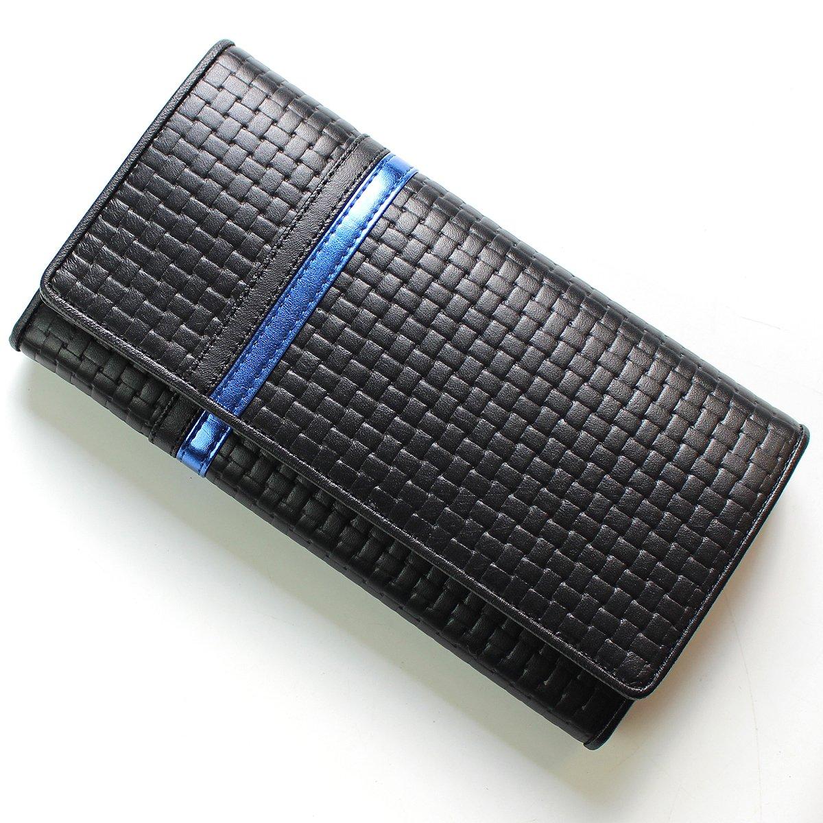 [ディアブロ] DIABLO 長財布 大容量 型押し ライン 折り 【KA-1169】 B004C8LQ0E ブラック/メタリックブルー ブラック/メタリックブルー