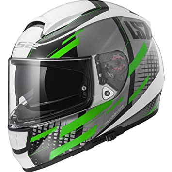 LS2 Casco Moto FF397 vector FT2 Bit, blanco/Titanium Green, ...
