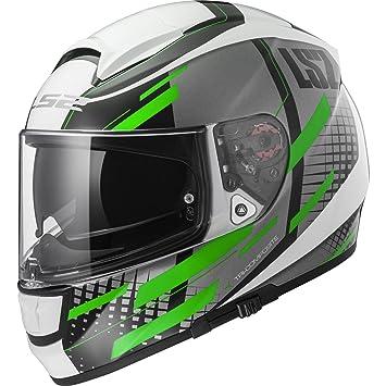 LS2 Casco Moto FF397 vector FT2 Bit, blanco/Titanium Green, ...