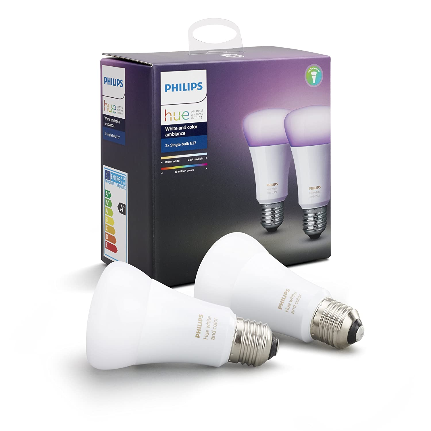 Philips Hue White And Color Ambiance Lampadina Led, E27, 9.5 W, 2 Pezzi by Philips