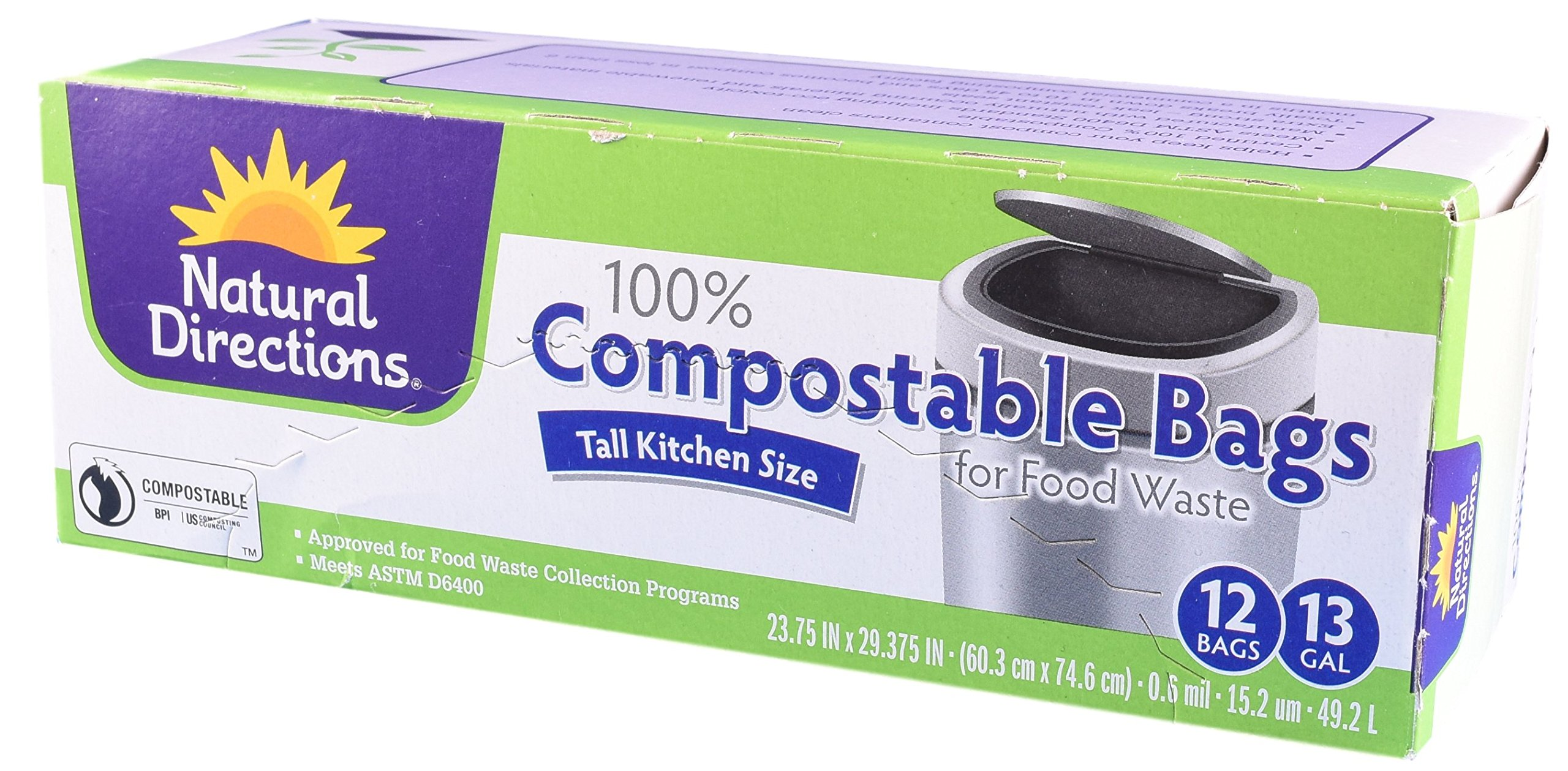 Natural Directions - Compostable Food Waste Bags - Tall Kitchen Size - 13 Gallon - 12 Bags