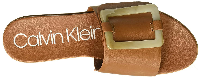 Calvin Klein Women's Patreece Slide Sandal B07864XYJ4 9.5 B(M) US|Cognac