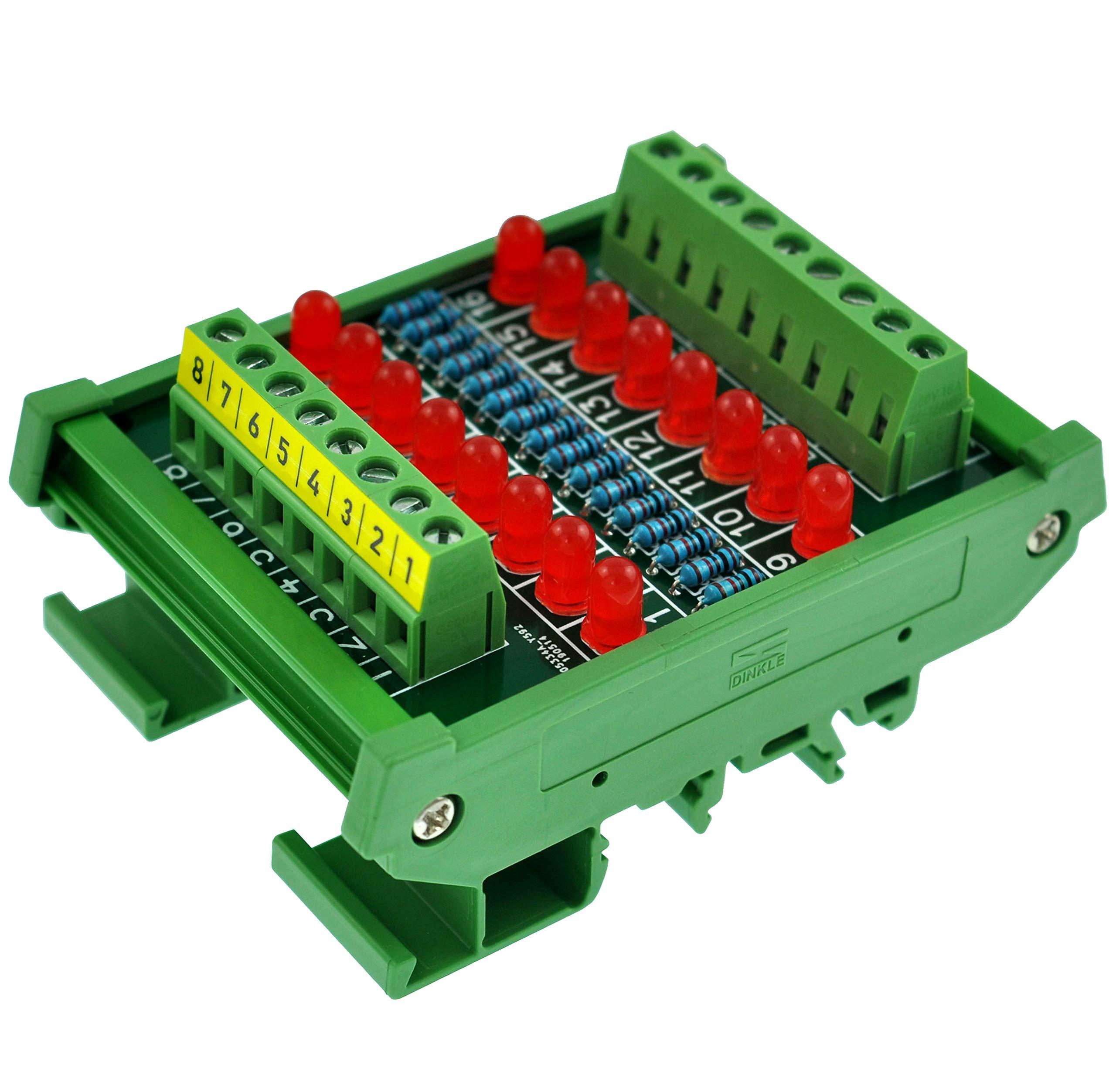 CZH-LABS DIN Rail Mount 16 LEDs Indicator Light Module, Support 5~50VDC Common Positive/Negative