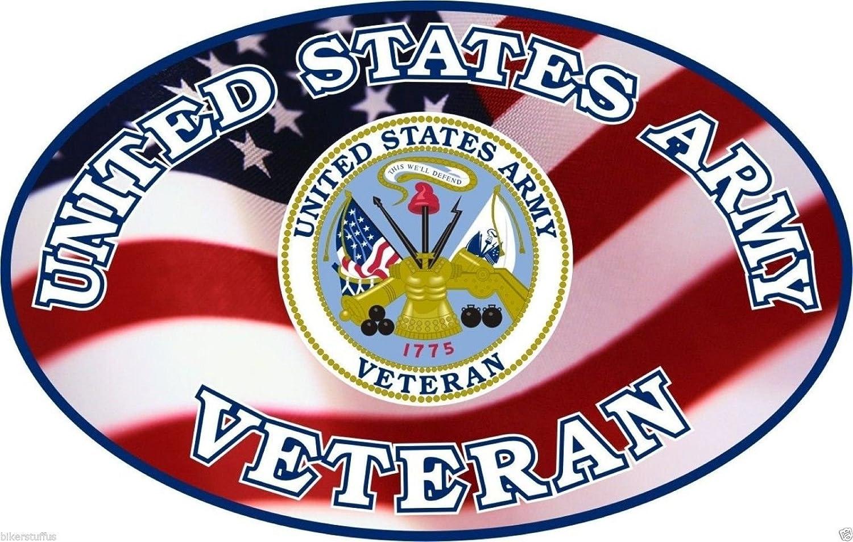 US Army Veteran Oval Sticker with USA Flag Toolbox Sticker Laptop Sticker