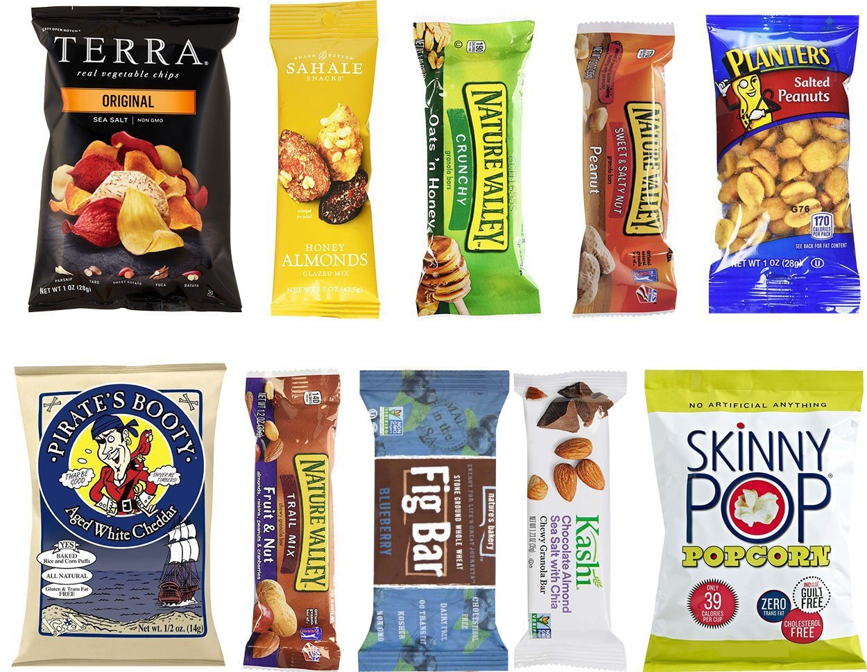 Healthy Snacks Care Package Sampler Gift Box - 10 Pack Variety - Nature Valley Granola Bars, SkinnyPop, Fig Bar, Planters, Terra Chips, Kashi, Sahale, Aged Cheddar and more by Blue Ribbon