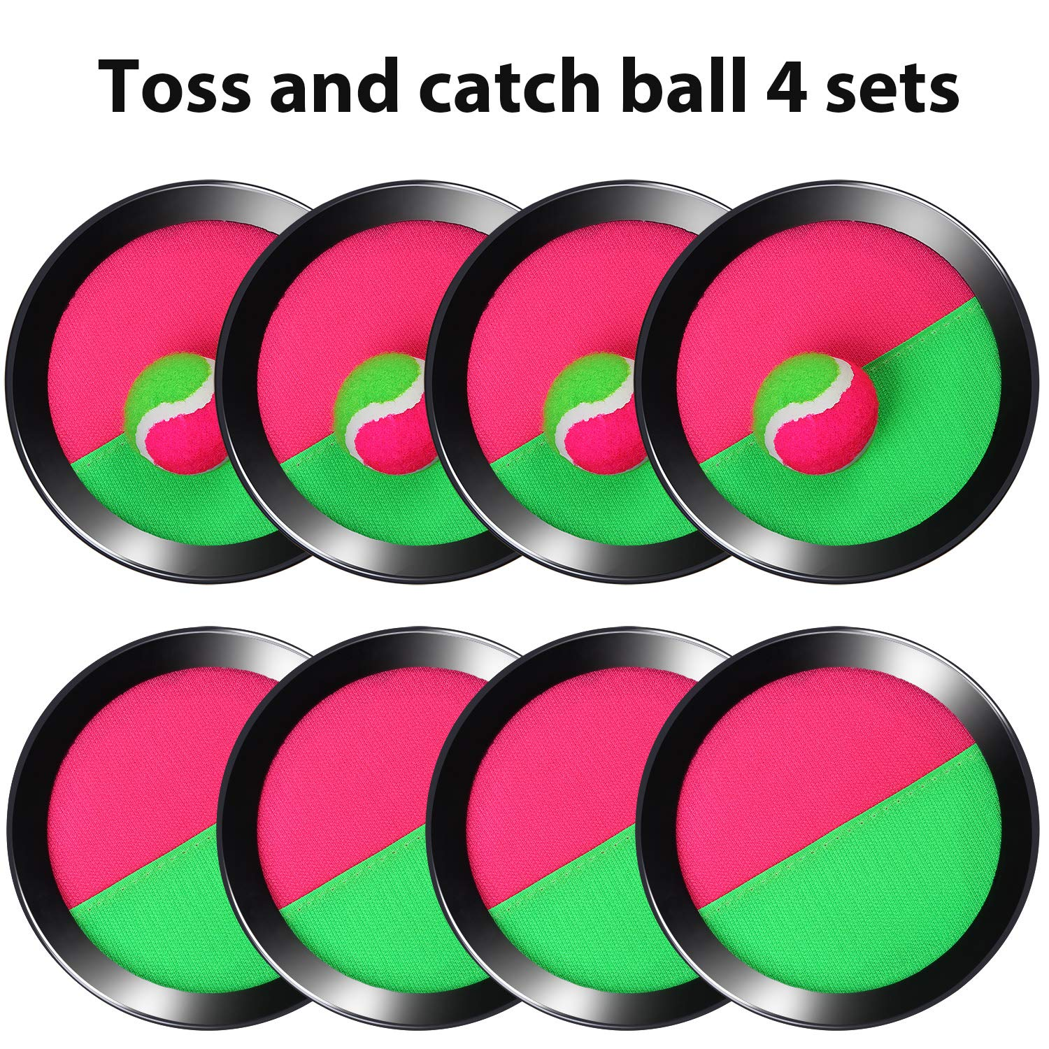 15.5cm 8 Paddles and 8 Balls Beach and Party Favor with Storage Bag Tupa Toss and Catch Paddle Game Disc 4 Set Paddle Toss and Catch Ball Sport Game Suitable for Sports