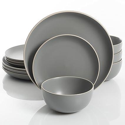 Gibson Home Rockaway 12-Piece Dinnerware Set Service for 4, Grey Matte