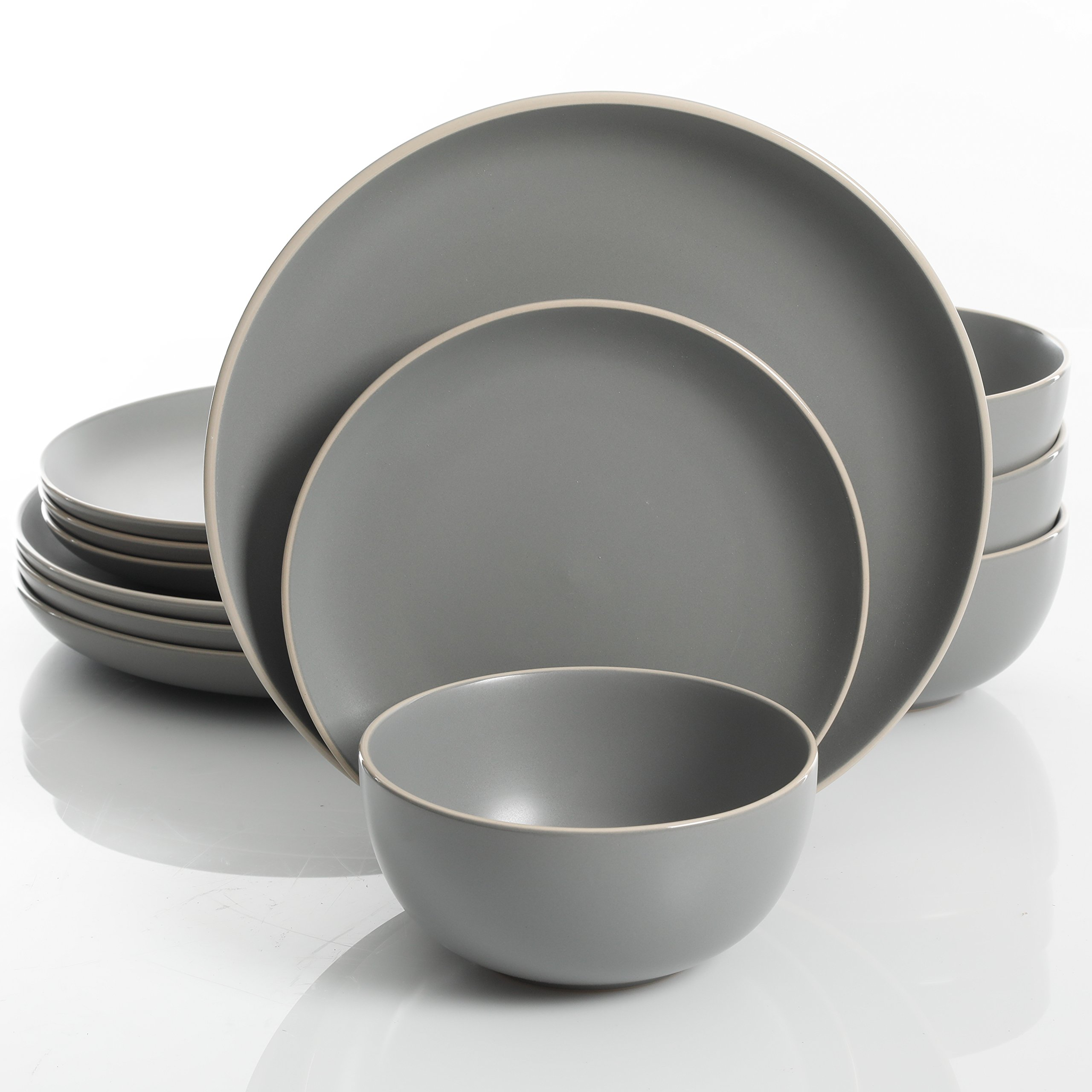 Gibson Home 114388.12RM Rockaway 12-Piece Dinnerware Set Service for 4, Grey Matte