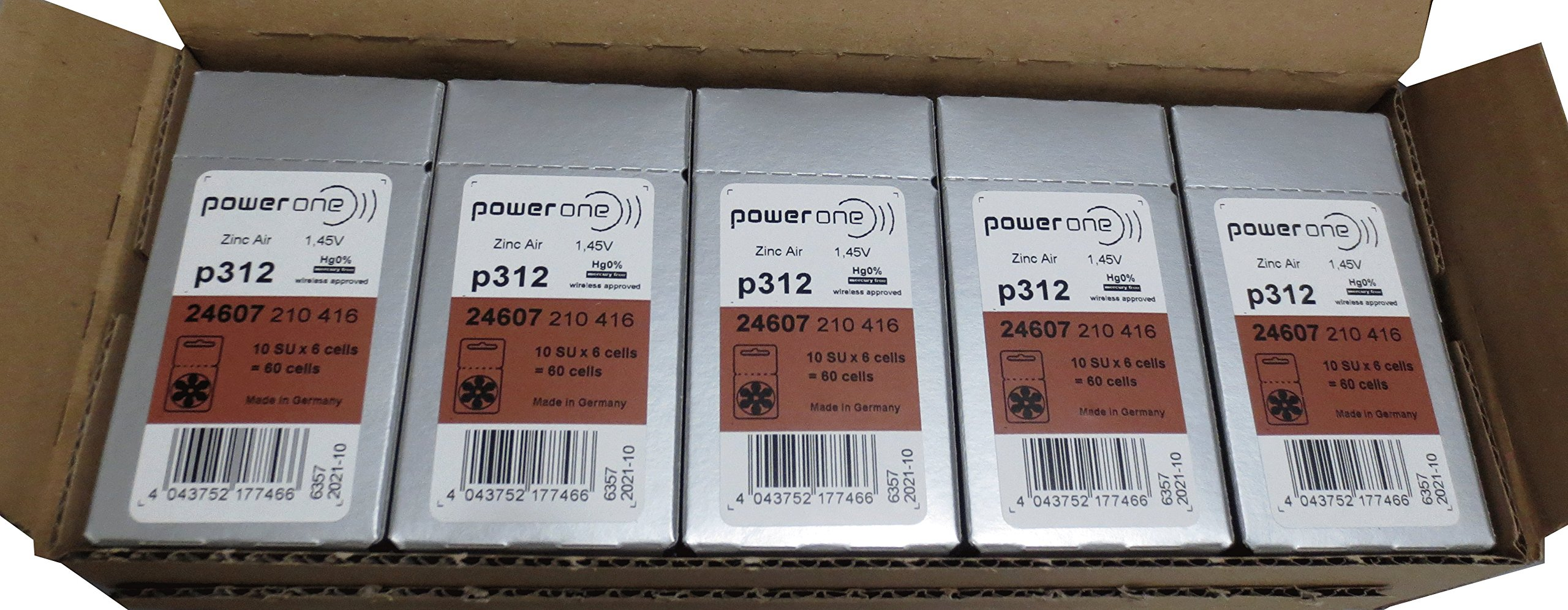 PowerOne Hearing Aid Batteries Size 312 - 50 Packs of 6 Cells