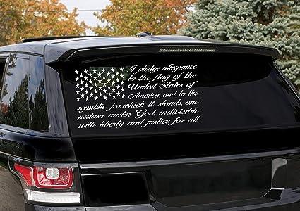 American Flag Pledge Vinyl Decal Truck Window Wall Sticker Allegiance Patriotic