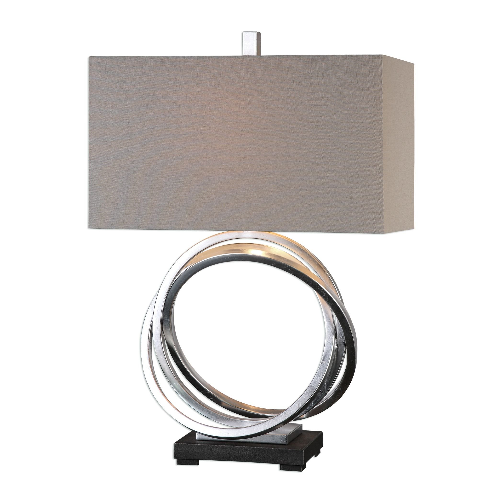 Entwined Silver Circles Table Lamp | Open Rings Elegant Beige Shade
