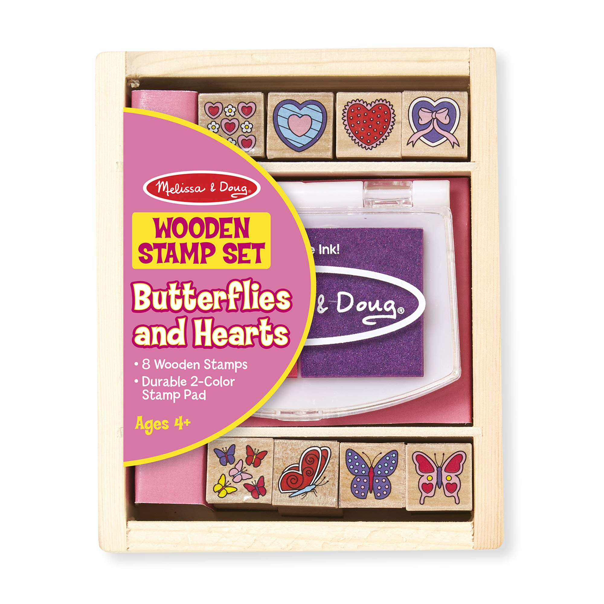 Melissa & Doug Butterfly and Hearts Stamp Set Arts and Crafts Stamp Sets and Stencils 3+ Gift for Boy or Girl