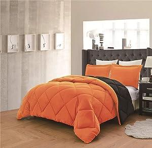 Empire Home 3 Piece Solid Alternative Dayton Comforter Set 16 Color Combinations (Orange/Black, King)