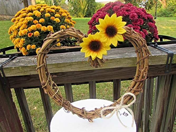 Amazon Sunflower Cake Topper Grapevine Twig Heart Mini Wreath